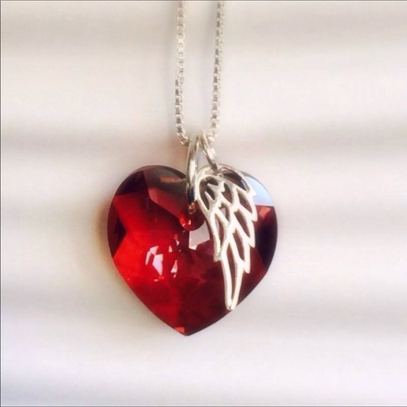 81 off jewelry red crystal heart with angel wing necklace from red crystal heart with angel wing necklace aloadofball Image collections
